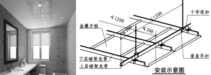 厨房天花铝扣板的-厨房铝天花凹凸板与平板的比较