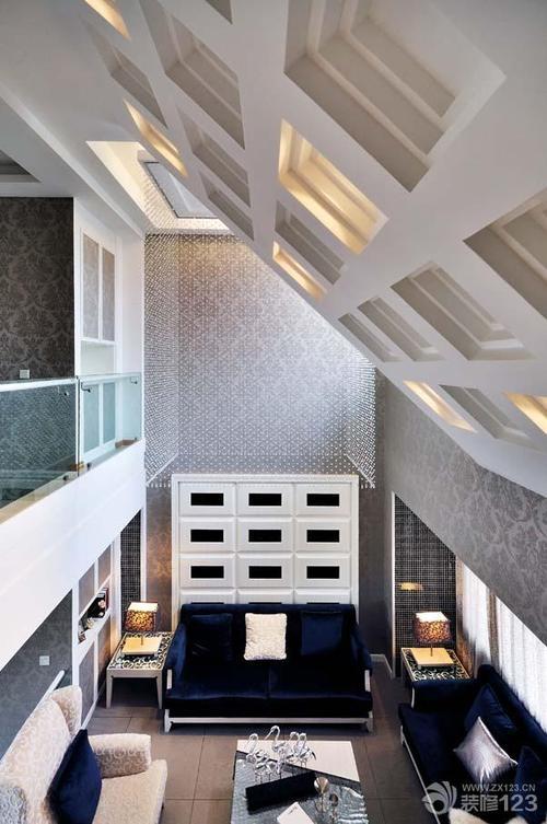 吊顶铝扣板客厅效果图-新式铝蜂窝大板吊顶效果图