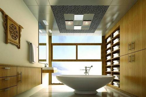 中式客厅铝扣板吊顶效果图-铝扣板集成吊顶效果图