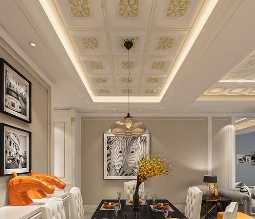 欧式铝扣板吊顶实景图-客厅铝扣板吊顶效果图