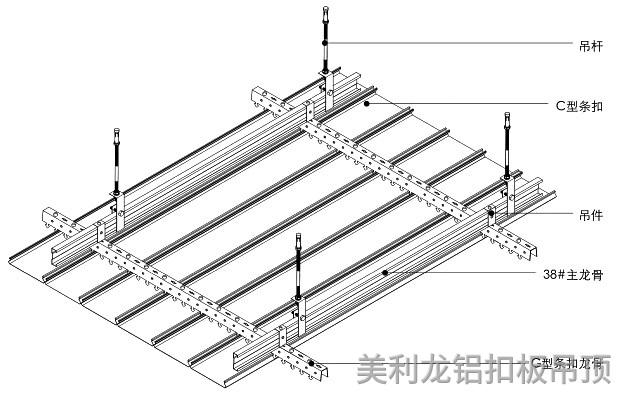 覆膜C型密闭式铝条扣安装示意图